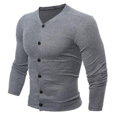 Buy DEEP GRAY Casual V Neck Button Up Cardigan for $14.09 in GearBest store