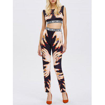 Hands Print Crop Top with Yoga Pants