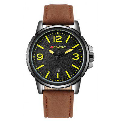 Faux Leather Date Analog Quartz Watch