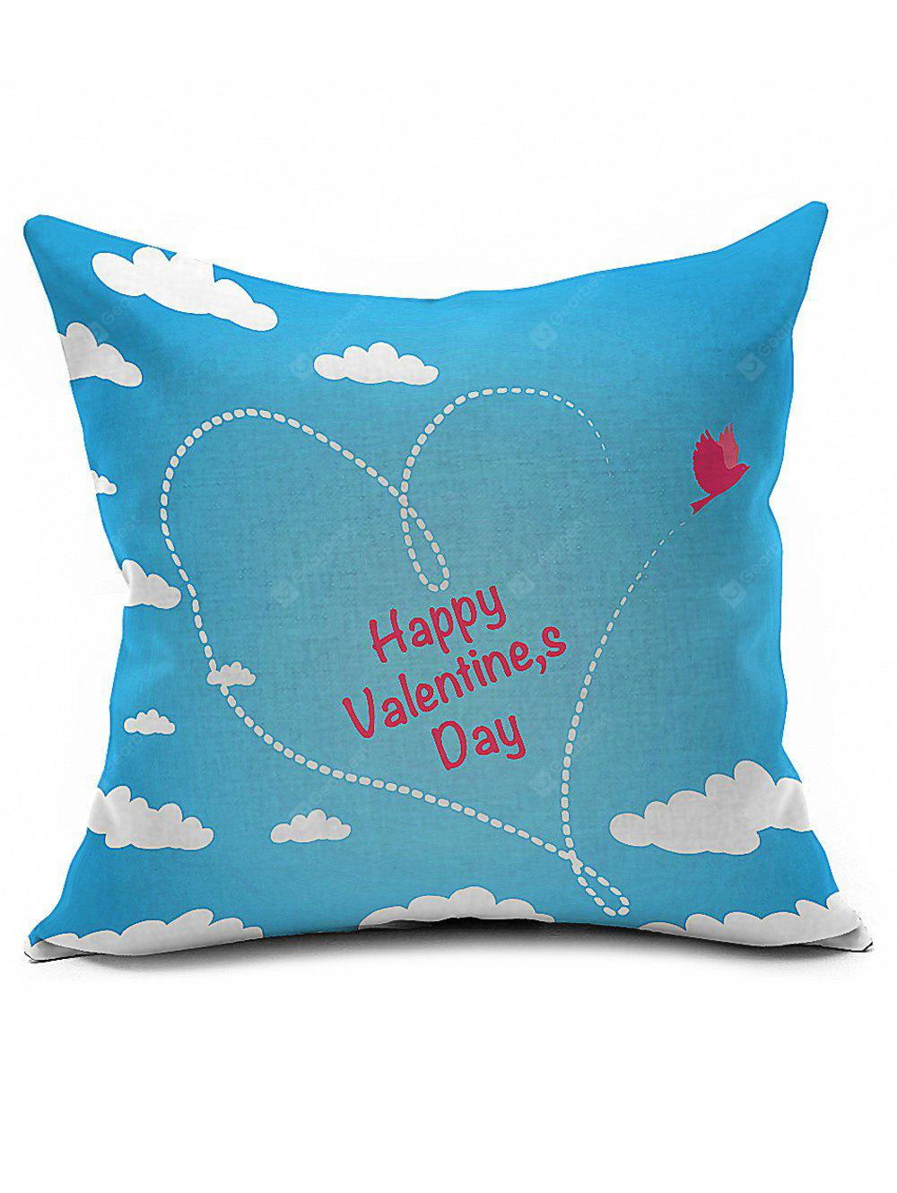 Heart Happy Valentine's Day Linen Sofa Bed Throw Pillowcase