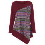 Plus Size Color Block Asymmetrical Tee - DARK RED