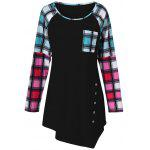 Raglan Sleeve Plaid Plus Size Tee - PRETO