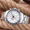 Waterproof Tachymeter Metal Quartz Watch - WHITE