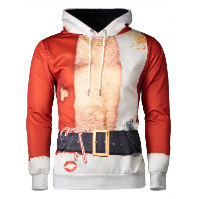 Hooded Father Christmas Costume Lip Print Hoodie
