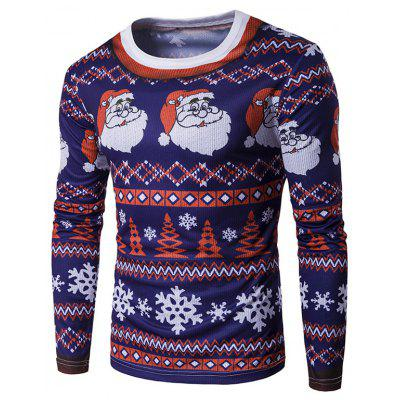 Crew Neck 3D Father Christmas and Snowflake Print T-Shirt
