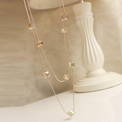Artificial Crystal Cube Shape Sweater Chain