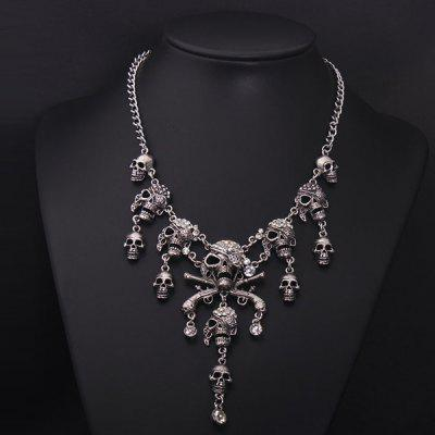 Punk Skulls Tassel Fake Crystal Necklace