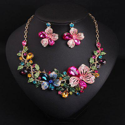 Artificial Crystal Flower Bib Charm Necklace and Earrings