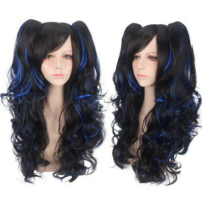 Long Side Bang Fluffy Wavy with Bunches Synthetic Cosplay Lolita Wig