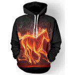 Hooded 3D Flame Horse Print Long Sleeve Hoodie - BLACK