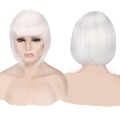 Buy WHITE Candy Color Short Neat Bang Straight Synthetic Cosplay Wig for $12.74 in GearBest store