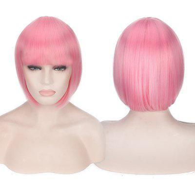 Buy PINK Candy Color Short Neat Bang Straight Synthetic Cosplay Wig for $12.74 in GearBest store