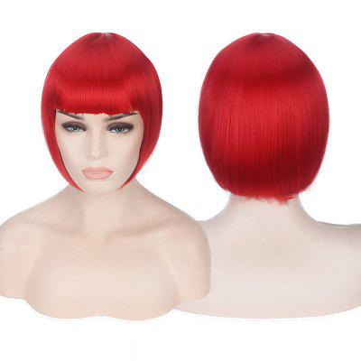 Buy RED Candy Color Short Neat Bang Straight Synthetic Cosplay Wig for $12.74 in GearBest store