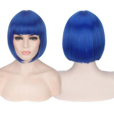 Buy BLUE Candy Color Short Neat Bang Straight Synthetic Cosplay Wig for $15.20 in GearBest store