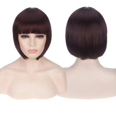 Buy BURGUNDY Candy Color Short Neat Bang Straight Synthetic Cosplay Wig for $12.74 in GearBest store