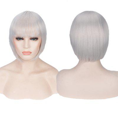 Buy SILVER WHITE Candy Color Short Neat Bang Straight Synthetic Cosplay Wig for $12.74 in GearBest store