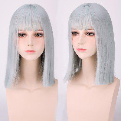 Medium Neat Bang Straight Harajuku Synthetic Cosplay Wig