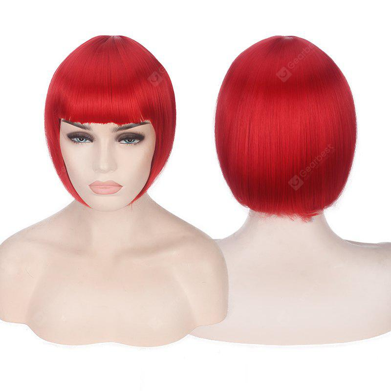 RED Candy Color Short Neat Bang Straight Synthetic Cosplay Wig