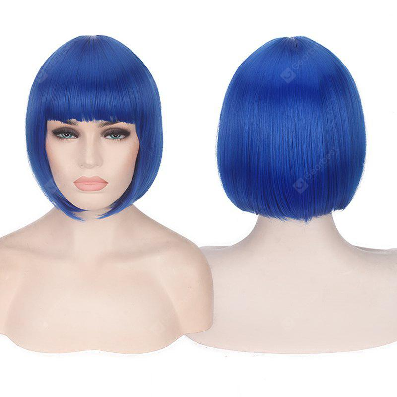 BLUE Candy Color Short Neat Bang Straight Synthetic Cosplay Wig