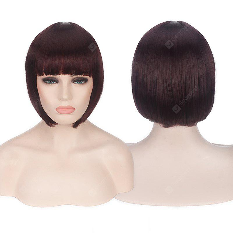BURGUNDY Candy Color Short Neat Bang Straight Synthetic Cosplay Wig