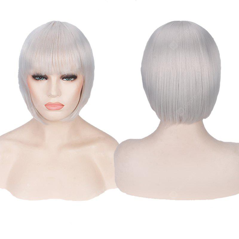 SILVER WHITE Candy Color Short Neat Bang Straight Synthetic Cosplay Wig