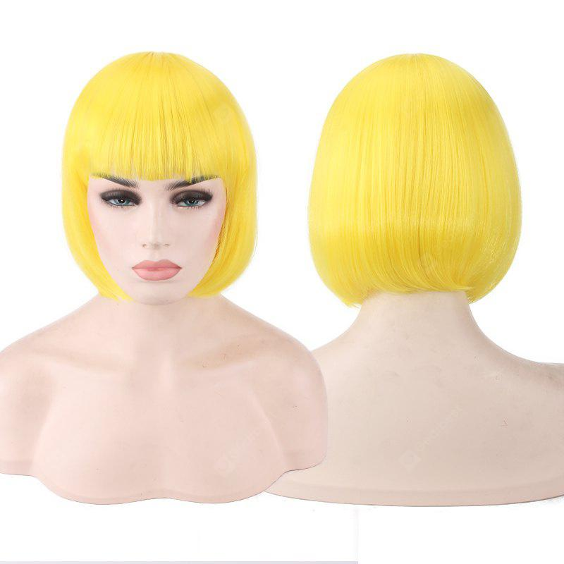 YELLOW Candy Color Short Neat Bang Straight Synthetic Cosplay Wig