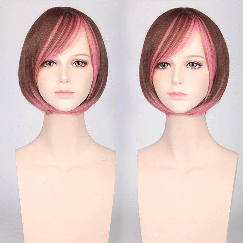 Short Colormix Side Bang Bob Straight Harajuku Synthetic Cosplay Wig