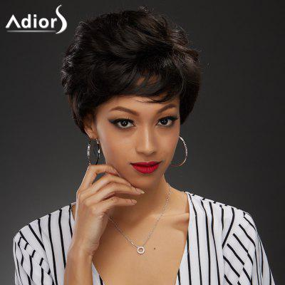 Elegant Short Black Brown Capless Fluffy Curly Synthetic Wig For Women