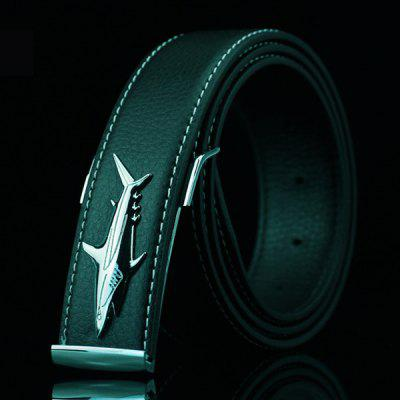 Alloy Shark Covered Pin Buckle Faux Leather Belt