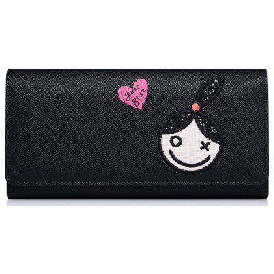 Flapped Cartoon Embroidery Wallet