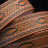 Pin Buckle Aztec Print Faux Leather Belt - BROWN