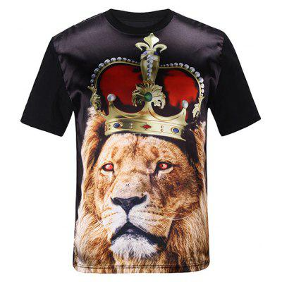 Silk Imitation 3D Crown Lion Print T-Shirt
