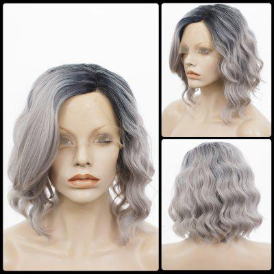 Buy COLORMIX Medium Side Parting Shaggy Curly Colormix Bob Lace Front Human Hair Wig for $58.76 in GearBest store