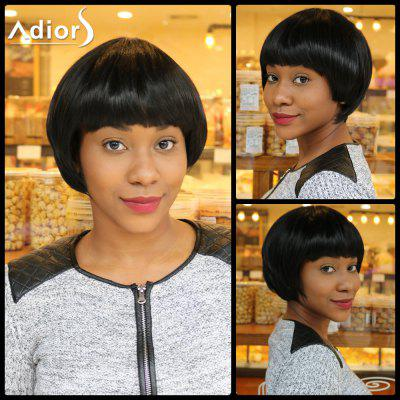Buy BLACK Short Straight Neat Bang Bowl Haircut Synthetic Capless Wig for $18.35 in GearBest store