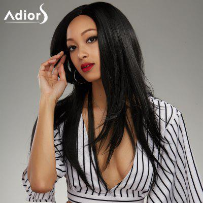 Buy BLACK Adiors Long Side Parting Silky Straight Synthetic Wig for $15.51 in GearBest store
