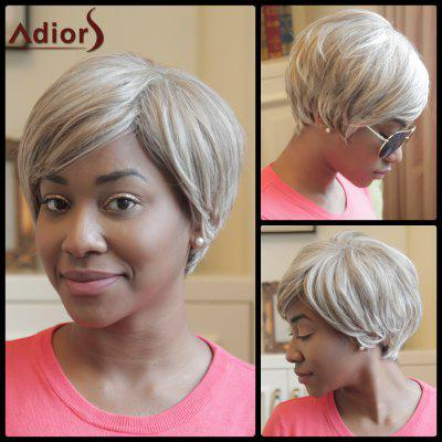 Buy COLORMIX Adiors Short Fluffy Oblique Bang Color Mixed Synthetic Wig for $18.21 in GearBest store