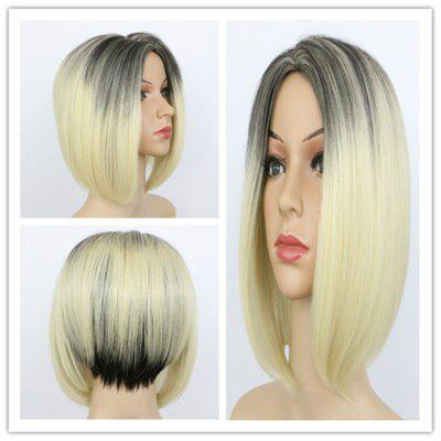 Buy COLORMIX Graceful Short Asymmetric Black Blonde Mixed Capless Straight Synthetic Wig For Women for $18.22 in GearBest store