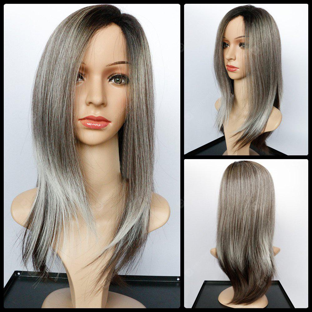 Long Side Parting Natural Straight Color Mixed Synthetic Wig
