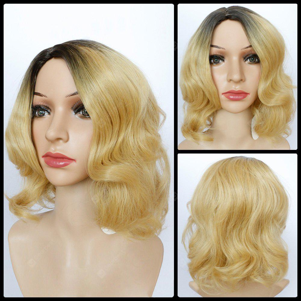 Shaggy Short Wavy Side Parting Color Mixed Synthetic Wig