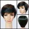 Shaggy Short Boy Cut Straight Side Bang Synthetic Wig - BLACK