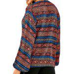 Plunging Neck Bohemian Printed Loose Blouse - BLUE