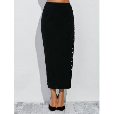 Button Up Side Slit Pencil Skirt