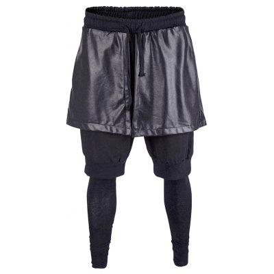 Drawstring Faux Leather Overlay Casual Pants