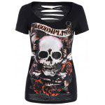 Skull Halloween Punk T-shirt - NOIR