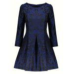 Pleated Mini Jacquard Flare Dress - DEEP BLUE