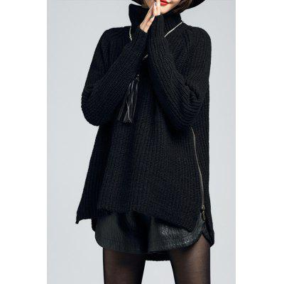 Turtleneck Side Zipper Long Sleeve Sweater