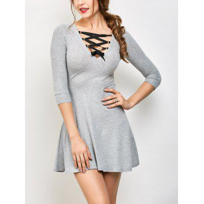 Buy V Neck Lace Up Ribbed Sweater Dress GRAY L for $24.26 in GearBest store