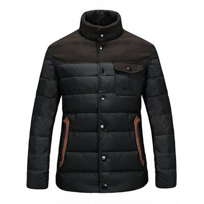 Stand Collar Color Block Pocket Padded Jacket