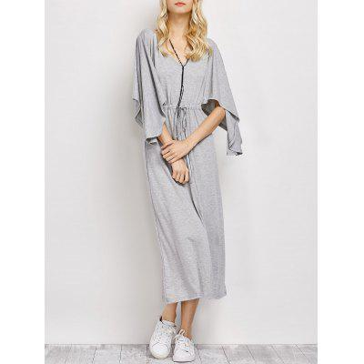 Casual V Neck Drawstring Loose Maxi Dress
