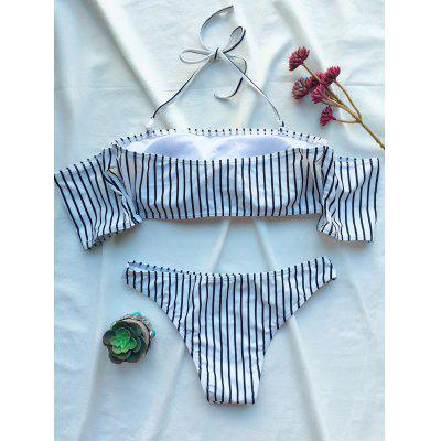 Striped Off The Shoulder Bikini SetWomens Swimwear<br>Striped Off The Shoulder Bikini Set<br><br>Bra Style: Padded<br>Elasticity: Elastic<br>Gender: For Women<br>Material: Polyester<br>Neckline: Halter<br>Package Contents: 1 x Bra  1 x Briefs<br>Pattern Type: Striped<br>Support Type: Wire Free<br>Swimwear Type: Bikini<br>Waist: Natural<br>Weight: 0.1800kg